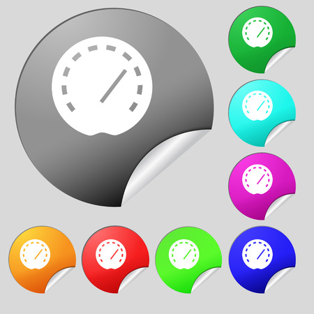 speedometer Icon sign. Set of eight multi colored round buttons, stickers. Vector illustration