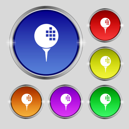 shot put: Golf icon sign. Round symbol on bright colourful buttons. Vector illustration Illustration