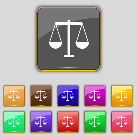acquittal: Scales of Justice icon sign. Set with eleven colored buttons for your site. Vector illustration