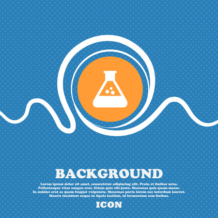 chemistry icon sign. Blue and white abstract background flecked with space for text and your design. Vector illustration