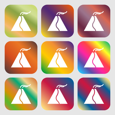 erupt: active erupting volcano icon . Nine buttons with bright gradients for beautiful design. Vector illustration Illustration