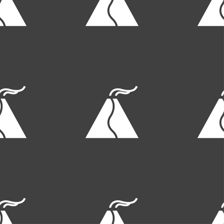 powerful volcano: active erupting volcano icon sign. Seamless pattern on a gray background. Vector illustration