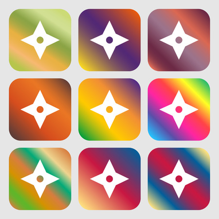 throwing knife: Ninja Star, shurikens icon . Nine buttons with bright gradients for beautiful design. Vector illustration Illustration