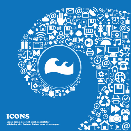 flooding: Waves icon . Nice set of beautiful icons twisted spiral into the center of one large icon. Vector illustration Illustration
