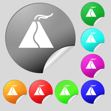 powerful volcano: active erupting volcano icon sign. Set of eight multi colored round buttons, stickers. Vector illustration Illustration