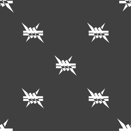 barbwire: Barbed wire icon. sign. Seamless pattern on a gray background. Vector illustration