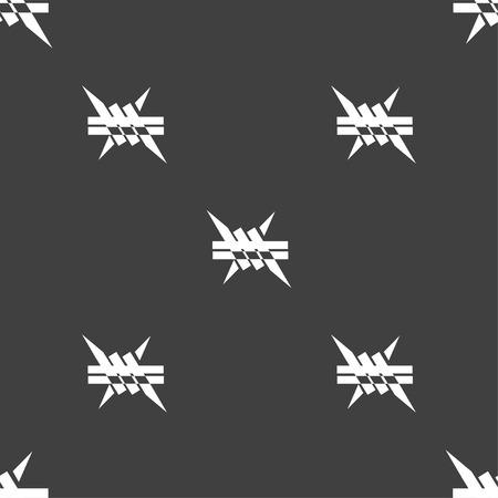 Stacheldraht-Symbol. Schild. Nahtlose Muster auf einem grauen Hintergrund. Vektor-Illustration
