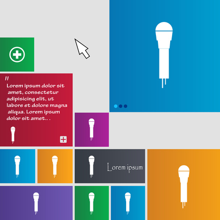 amplification: Microphone Icon sign. buttons. Modern interface website buttons with cursor pointer. Vector illustration
