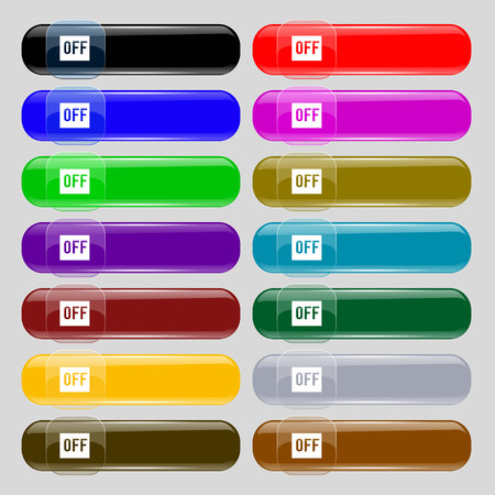 OFF icon sign. Set from fourteen multi-colored glass buttons with place for text. Vector illustration Illustration