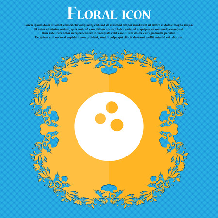 Bowling icon icon. Floral flat design on a blue abstract background with place for your text. Vector illustration Illustration