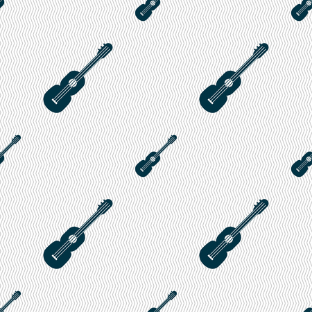 acoustic guitar icon sign. Seamless pattern with geometric texture. Vector illustration