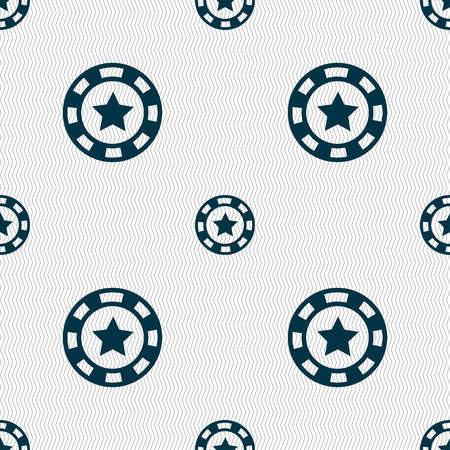 las vegas metropolitan area: Gambling chips icon sign. Seamless pattern with geometric texture. Vector illustration Illustration