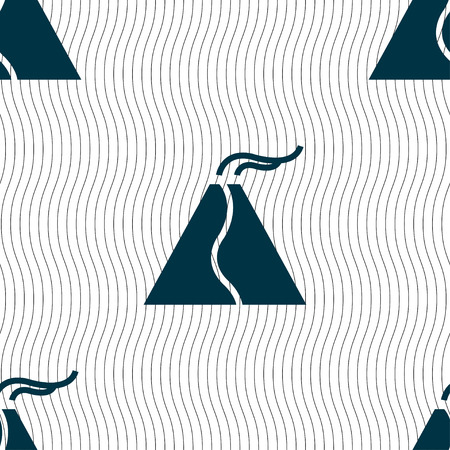 erupt: active erupting volcano icon sign. Seamless pattern with geometric texture. Vector illustration Illustration