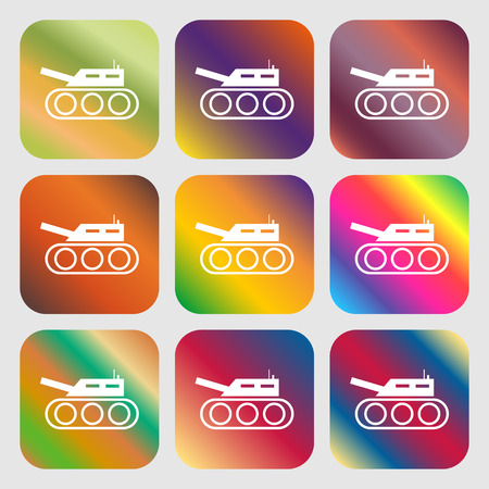 cold war: Tank, war, army icon . Nine buttons with bright gradients for beautiful design. Vector illustration