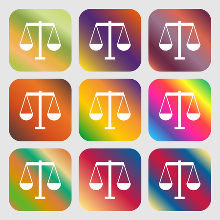 convicted: Scales of Justice icon . Nine buttons with bright gradients for beautiful design. Vector illustration