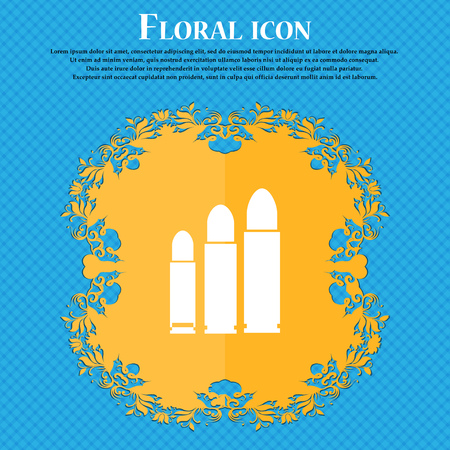 bullet Icon icon. Floral flat design on a blue abstract background with place for your text. Vector illustration Illustration