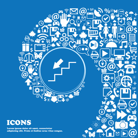 descent: descent down icon . Nice set of beautiful icons twisted spiral into the center of one large icon. Vector illustration Illustration