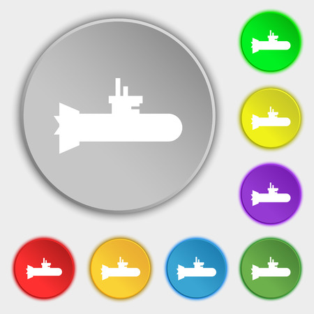 submarine icon sign. Symbol on eight flat buttons. Vector illustration