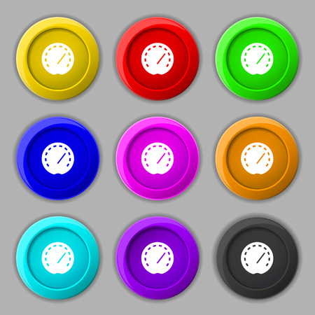dash: speedometer Icon sign. symbol on nine round colourful buttons. Vector illustration
