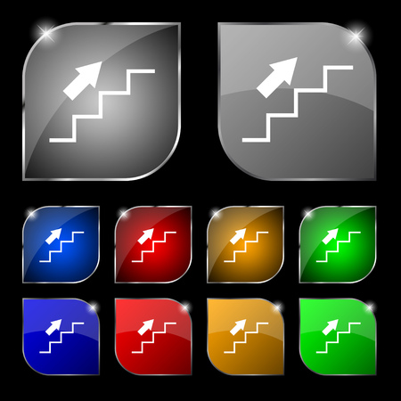 ascend: Stairs going up icon sign. Set of ten colorful buttons with glare. Vector illustration sign. Set of ten colorful buttons with glare. Vector illustration Illustration