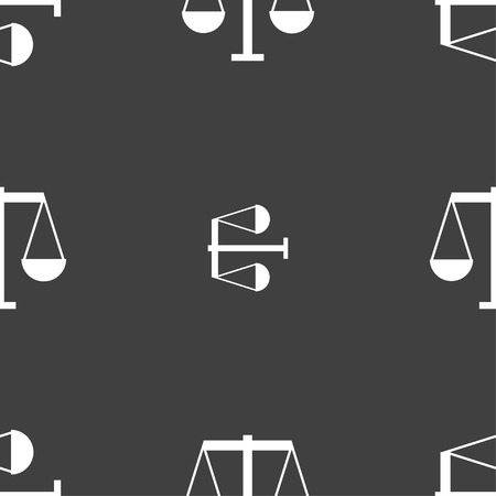 conviction: Scales of Justice icon sign. Seamless pattern on a gray background. Vector illustration Illustration