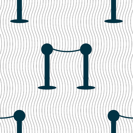 prestige: Cinema fence line icon sign. Seamless pattern with geometric texture. Vector illustration