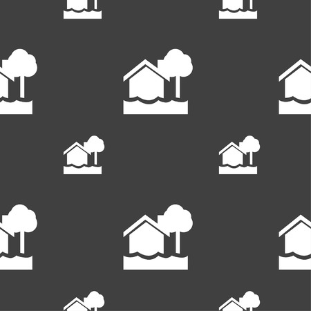 flooding home icon sign. Seamless pattern on a gray background. Vector illustration Illustration