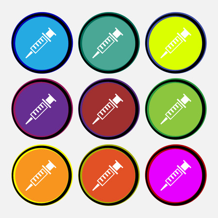 Syringe icon sign. Nine multi colored round buttons. Vector illustration