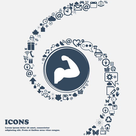 strong arm: Biceps strong arm. Muscle icon in the center. Around the many beautiful symbols twisted in a spiral. You can use each separately for your design. Vector illustration