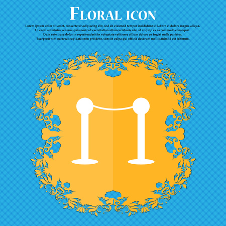 Cinema fence line icon icon. Floral flat design on a blue abstract background with place for your text. Vector illustration
