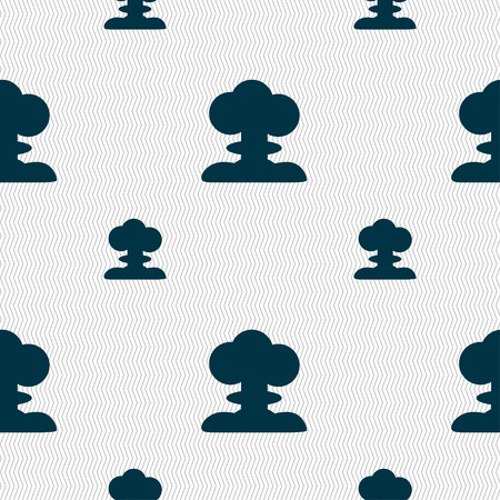 hydrogen bomb: Explosion Icon sign. Seamless pattern with geometric texture. Vector illustration Illustration
