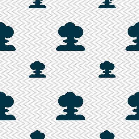 nuke: Explosion Icon sign. Seamless pattern with geometric texture. Vector illustration Illustration