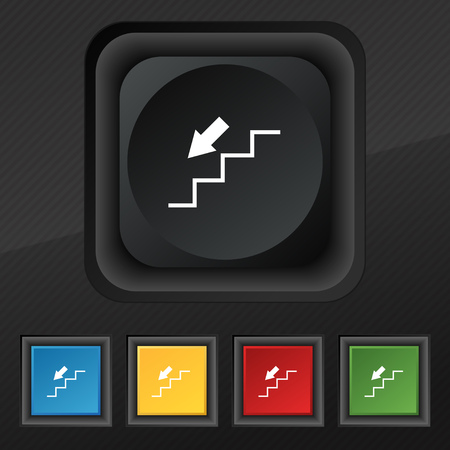 descent: descent down icon symbol. Set of five colorful, stylish buttons on black texture for your design. Vector illustration
