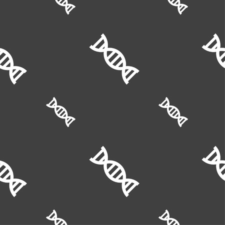DNA icon sign. Seamless pattern on a gray background. Vector illustration