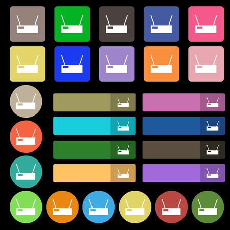 Wi-Fi Icon sign. Set from twenty seven multicolored flat buttons. Vector illustration Illustration