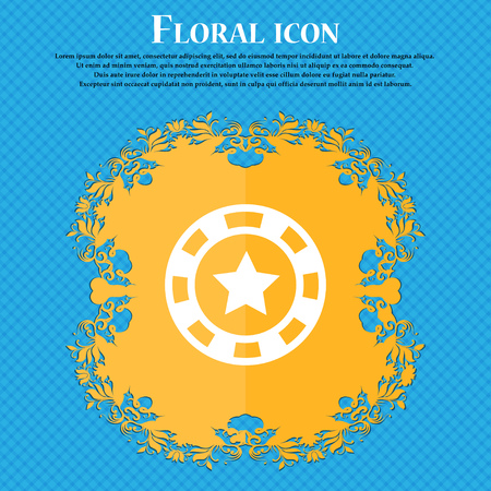 Gambling chips icon icon. Floral flat design on a blue abstract background with place for your text. Vector illustration