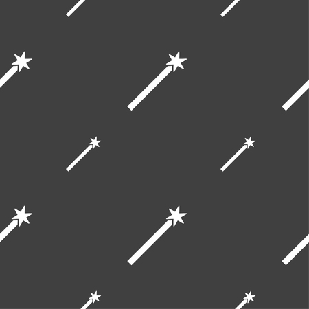 Magic Wand Icon sign. Seamless pattern on a gray background. Vector illustration