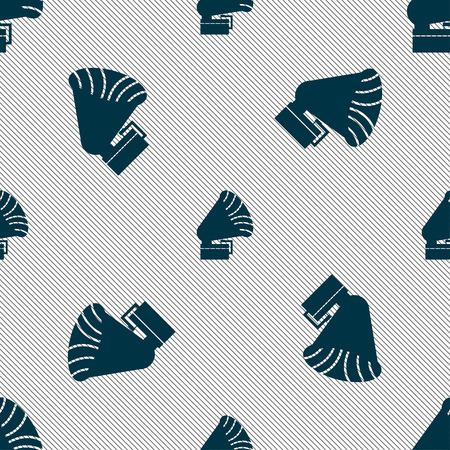 gramaphone: Gramophone icon. sign. Seamless pattern with geometric texture. Vector illustration