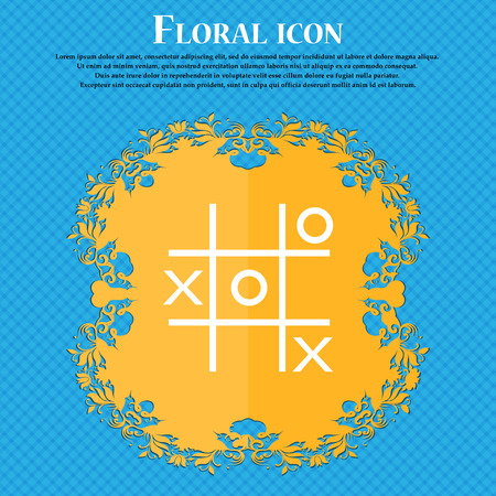 Tic tac toe game vector icon icon. Floral flat design on a blue abstract background with place for your text. Vector illustration