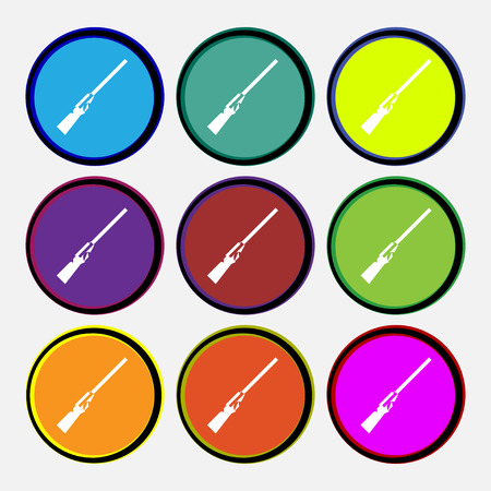 Shotgun icon sign. Nine multi colored round buttons. Vector illustration