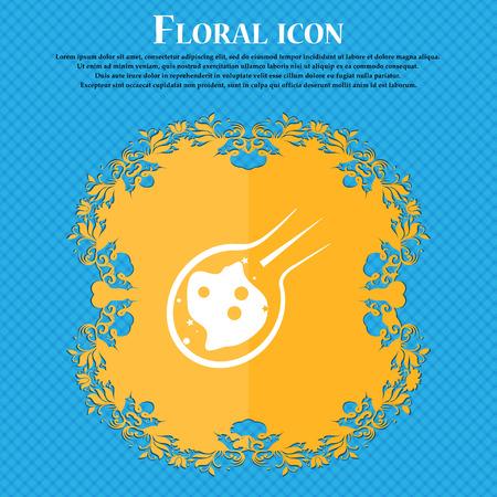 Flammen-Meteorit-Symbol Symbol. Flaches mit Blumenmuster auf einem blauen abstrakten Hintergrund mit Platz für Ihren Text. Vektor-Illustration