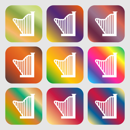 lyra: Harp icon . Nine buttons with bright gradients for beautiful design. Vector illustration