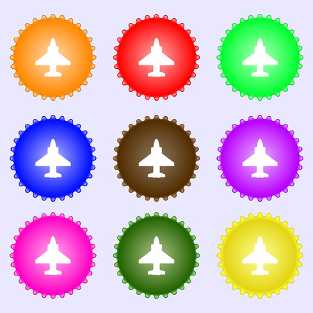 Aircraft or Airplane Icon sign. Big set of colorful, diverse, high-quality buttons. Vector illustration