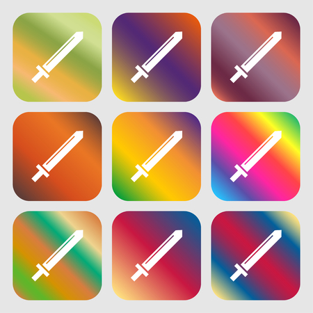 Sword icon . Nine buttons with bright gradients for beautiful design. Vector illustration