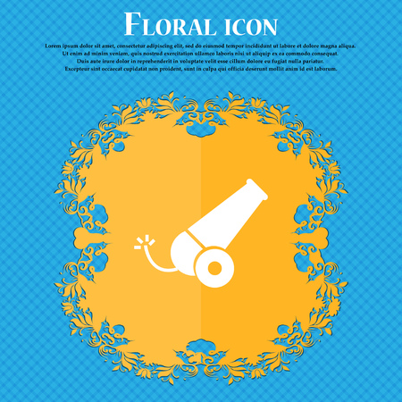 Cannon icon icon. Floral flat design on a blue abstract background with place for your text. Vector illustration