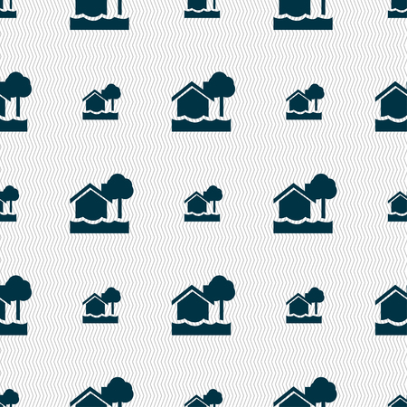 silhouette maison: inondations maison icône signe. Seamless texture géométrique. Vector illustration