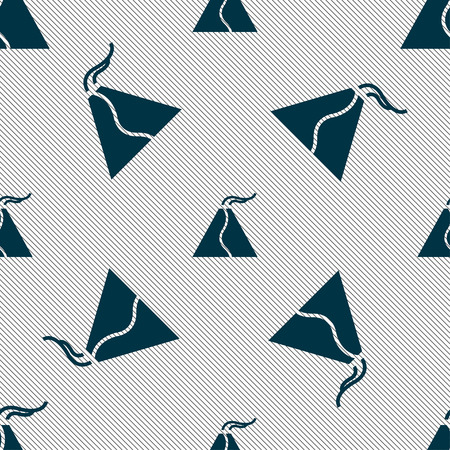 powerful volcano: active erupting volcano icon sign. Seamless pattern with geometric texture. Vector illustration Illustration
