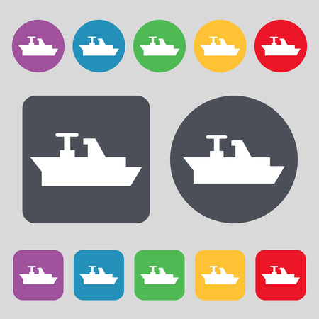 brigantine: Ships, boats, cargo icon sign. A set of 12 colored buttons. Flat design. Vector illustration Illustration