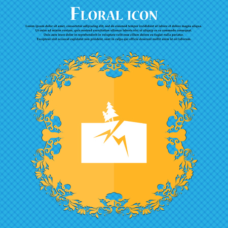 subsidence: Property insurance icon icon. Floral flat design on a blue abstract background with place for your text. Vector illustration