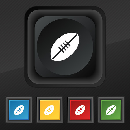 pigskin: American Football icon symbol. Set of five colorful, stylish buttons on black texture for your design. Vector illustration
